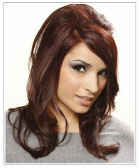 Model with backcombed long brown hair